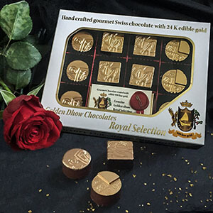Edible gold coated chocolate
