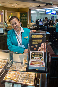 Edible gold chocolates on display in Dubai duty free