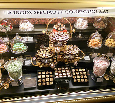 Edible gold chocolates on display at Harrods